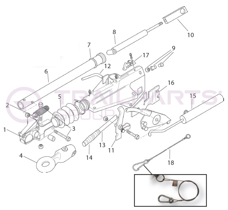 Bradley Doublelock HU3L Delta A-Frame Coupling Spares Home - TRAILPARTS®