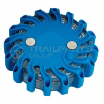 Magnetic LED warning strobe battery operated blue 120mm