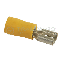 Spade connectors yellow female 6.3mm (x 100)