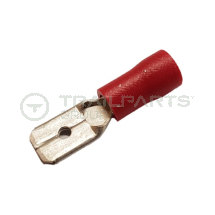 Spade connectors red male 6.3mm (x 100)