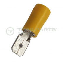 Spade connectors yellow male 6.3mm (x 100)