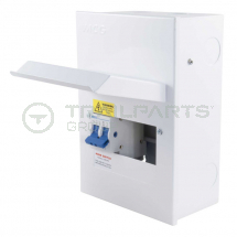 MCG metal consumer unit 4 way c/w 100A 2P incoming isolator