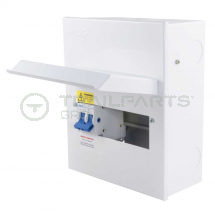 MCG metal consumer unit 6 way c/w 100A 2P incoming isolator