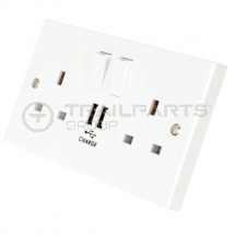 Socket switched double with USB 13A