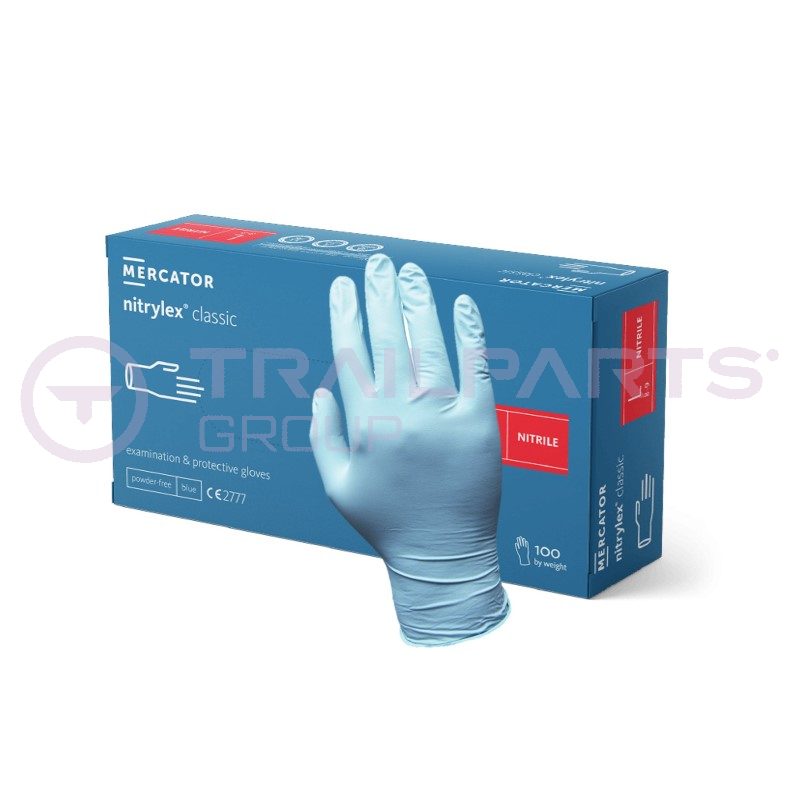 Powder-free blue nitrile gloves Large (x 100)
