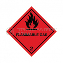Hazard warning diamond sticker Flammable Gas 100 x 100mm