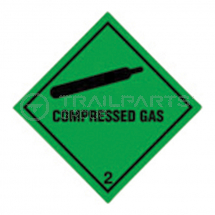 Hazard warning diamond sticker Compressed Gas 100 x 100mm