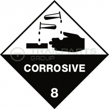 Hazard warning diamond sticker Corrosive 100 x 100mm