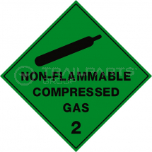 Hazard warning diamond sticker Non-Flammable Comp 100 x 100m