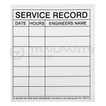 Service record sticker 140 x 120mm (25 in a pack)