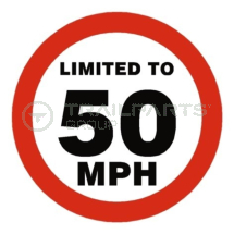 Limited to 50mph circular warning sticker 100 x 100mm
