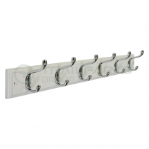 Coat hook rail white timber 6 chrome hooks 680mm