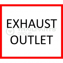 Exhaust outlet warning sticker 75mm x 85mm