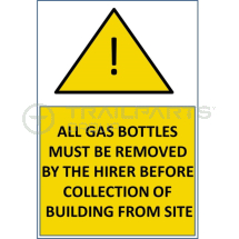 Gas bottles must be removed sticker 200 x 300mm