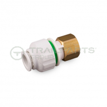 Push fit straight tap connector 15mm - ½inch BSP brass